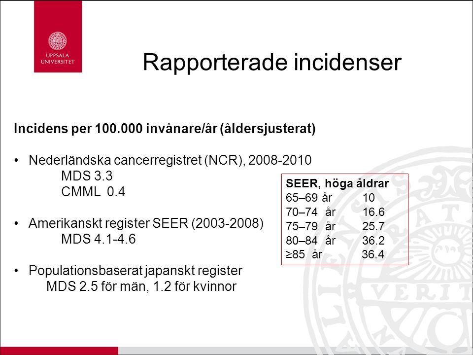 Rapporterade incidenser Incidens per 100.000 invånare/år (åldersjusterat) Nederländska cancerregistret (NCR), 2008-2010 MDS 3.3 CMML 0.4 Amerikanskt register SEER (2003-2008) MDS 4.1-4.6 Populationsbaserat japanskt register MDS 2.5 för män, 1.2 för kvinnor SEER, höga åldrar 65–69 år 10 70–74 år 16.6 75–79 år 25.7 80–84 år 36.2 ≥85 år 36.4