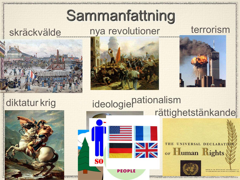 SammanfattningSammanfattning skräckvälde diktaturkrig nya revolutioner ideologier nationalism terrorism rättighetstänkande