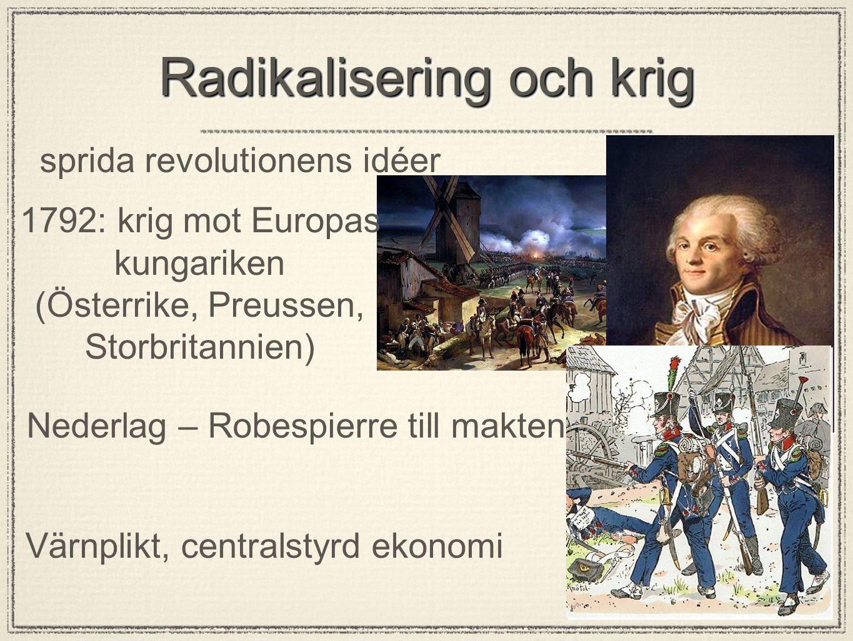 Robespierres skräckvälde Hemlig polis Avrättningar - giljotinen Robespierre störtas 1794