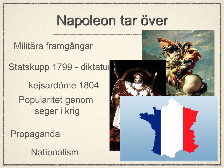 Napoleon tar över Militära framgångar Statskupp 1799 - diktatur Popularitet genom seger i krig Propaganda Nationalism kejsardöme 1804