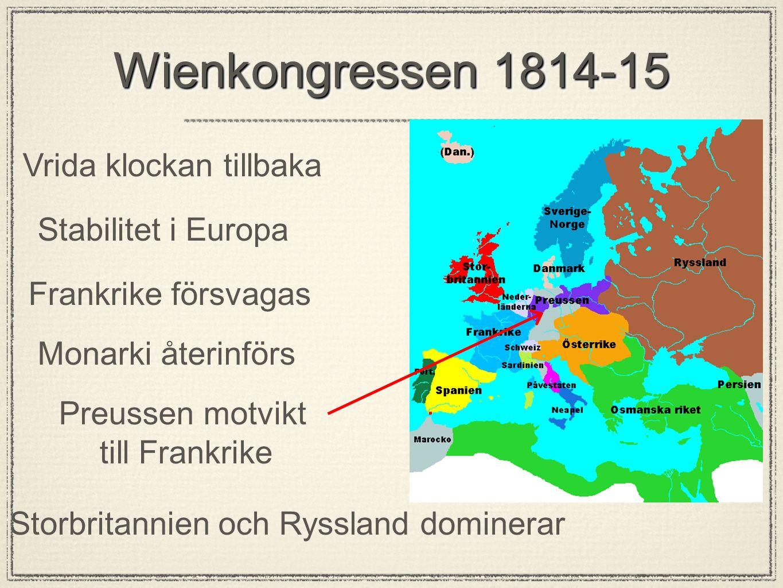 Wienkongressen 1814-15 Vrida klockan tillbaka Stabilitet i Europa Frankrike försvagas Monarki återinförs Preussen motvikt till Frankrike Storbritannie