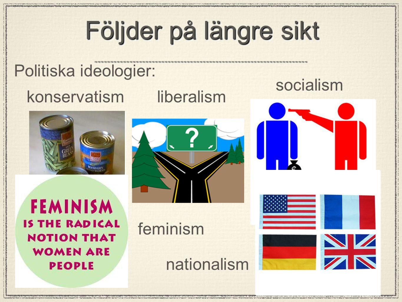 Följder på längre sikt Politiska ideologier: konservatismliberalism socialism feminism nationalism