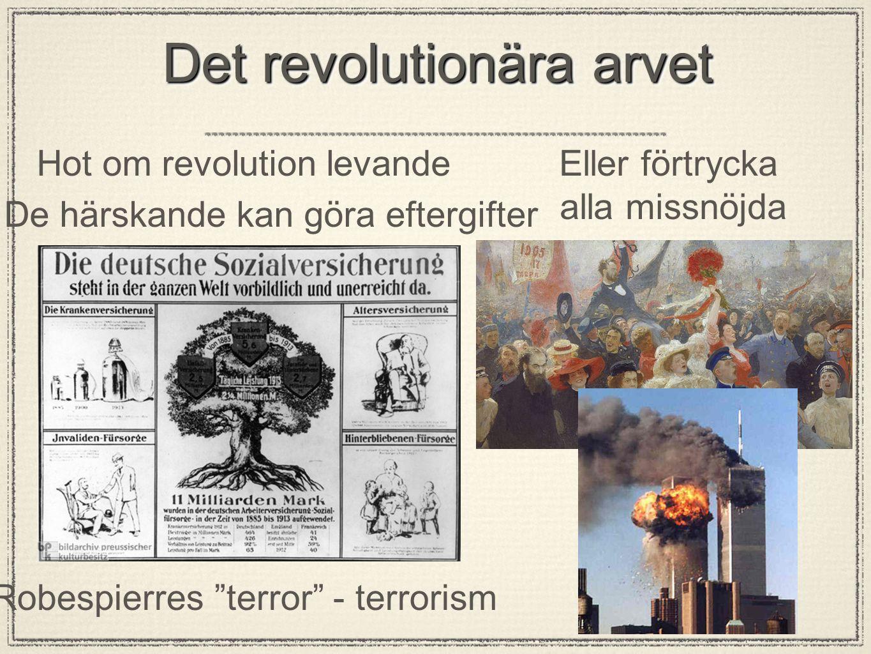 """Det revolutionära arvet Hot om revolution levande De härskande kan göra eftergifter Eller förtrycka alla missnöjda Robespierres """"terror"""" - terrorism"""