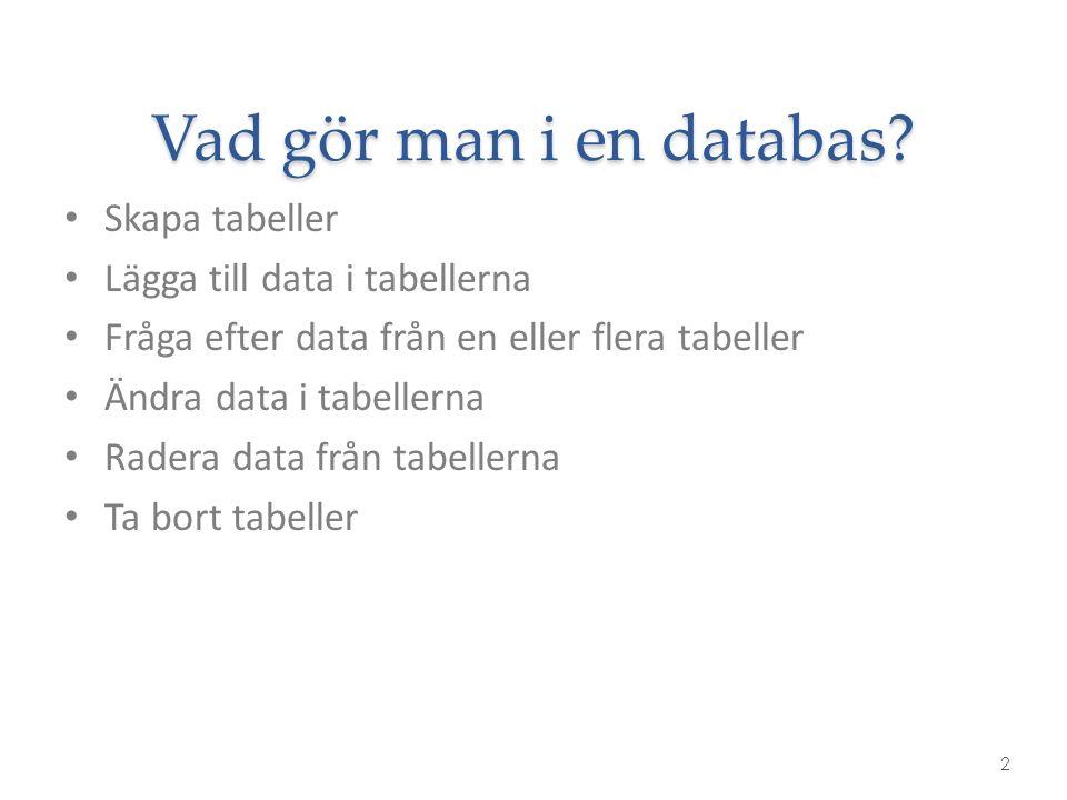 Vad gör man i en databas? 2 Skapa tabeller Lägga till data i tabellerna Fråga efter data från en eller flera tabeller Ändra data i tabellerna Radera d
