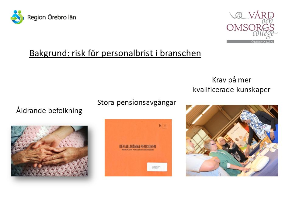 Stora pensionsavgångar Bakgrund: risk för personalbrist i branschen Krav på mer kvalificerade kunskaper Åldrande befolkning