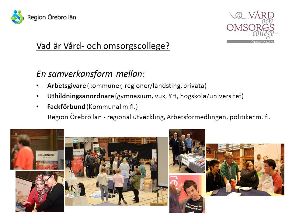 Vad är Vård- och omsorgscollege? En samverkansform mellan: Arbetsgivare (kommuner, regioner/landsting, privata) Utbildningsanordnare (gymnasium, vux,