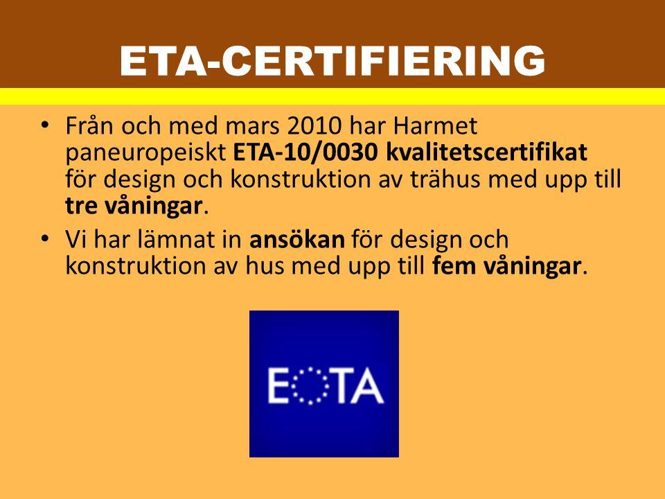 Från och med mars 2010 har Harmet paneuropeiskt ETA-10/0030 kvalitetscertifikat för design och konstruktion av trähus med upp till tre våningar. Vi ha