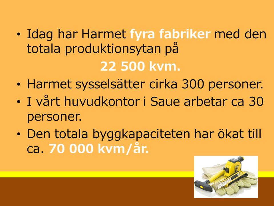 Idag har Harmet fyra fabriker med den totala produktionsytan på 22 500 kvm. Harmet sysselsätter cirka 300 personer. I vårt huvudkontor i Saue arbetar