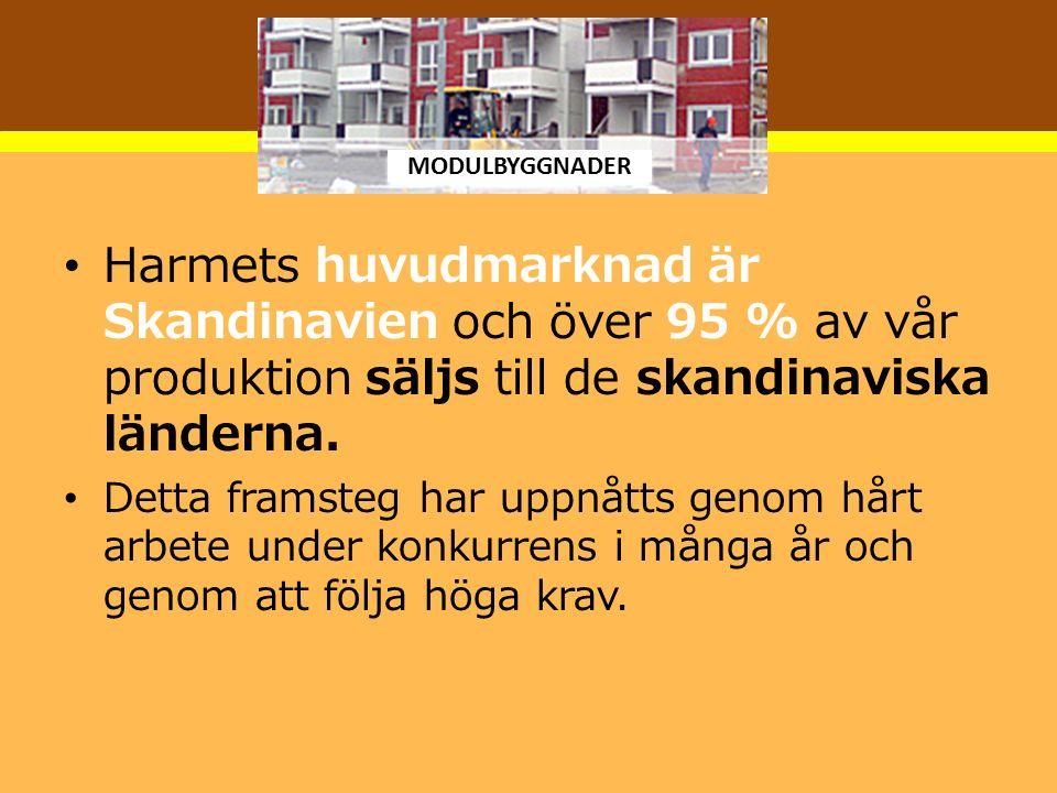 Harmets huvudmarknad är Skandinavien och över 95 % av vår produktion säljs till de skandinaviska länderna. Detta framsteg har uppnåtts genom hårt arbe