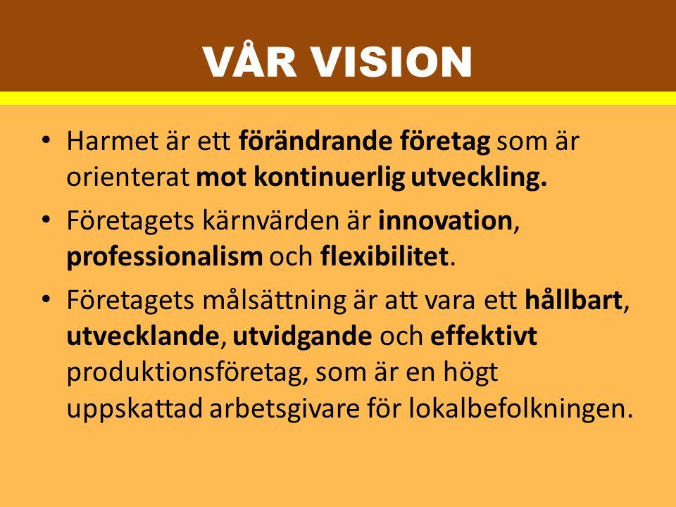 VÅR VISION Harmet är ett förändrande företag som är orienterat mot kontinuerlig utveckling. Företagets kärnvärden är innovation, professionalism och f