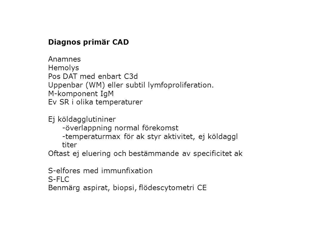 Diagnos primär CAD Anamnes Hemolys Pos DAT med enbart C3d Uppenbar (WM) eller subtil lymfoproliferation. M-komponent IgM Ev SR i olika temperaturer Ej