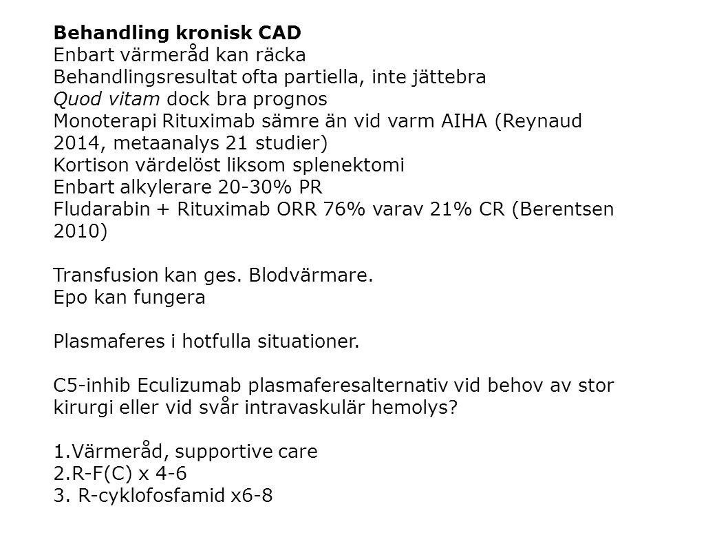 Behandling kronisk CAD Enbart värmeråd kan räcka Behandlingsresultat ofta partiella, inte jättebra Quod vitam dock bra prognos Monoterapi Rituximab sä