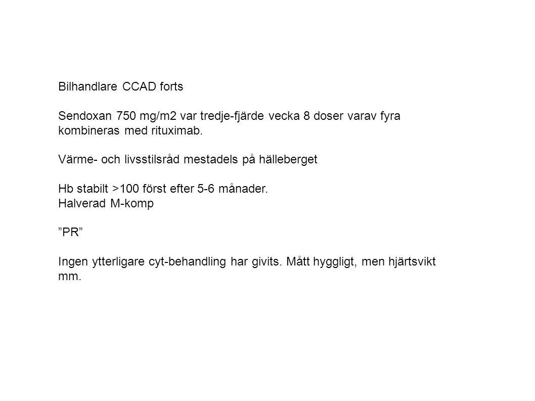 Bilhandlare CCAD forts Sendoxan 750 mg/m2 var tredje-fjärde vecka 8 doser varav fyra kombineras med rituximab. Värme- och livsstilsråd mestadels på hä
