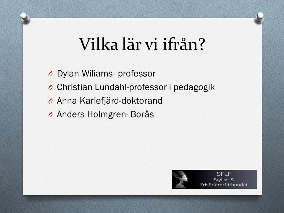 Vilka lär vi ifrån? O Dylan Wiliams- professor O Christian Lundahl-professor i pedagogik O Anna Karlefjärd-doktorand O Anders Holmgren- Borås