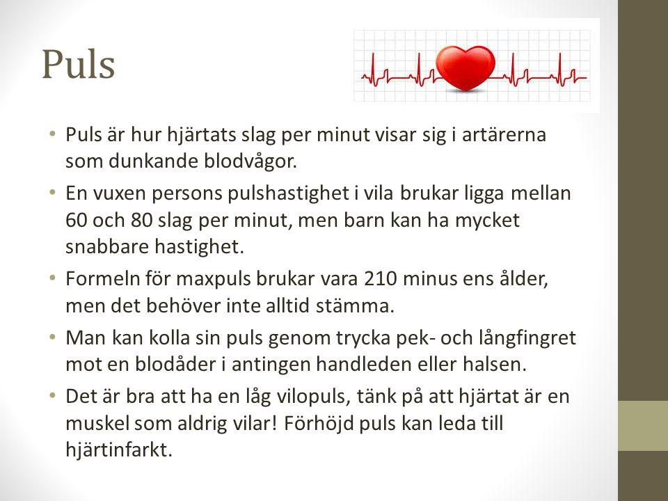 Puls Puls är hur hjärtats slag per minut visar sig i artärerna som dunkande blodvågor. En vuxen persons pulshastighet i vila brukar ligga mellan 60 oc