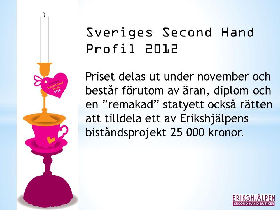 """Sveriges Second Hand Profil 2012 Priset delas ut under november och består förutom av äran, diplom och en """"remakad"""" statyett också rätten att tilldela"""
