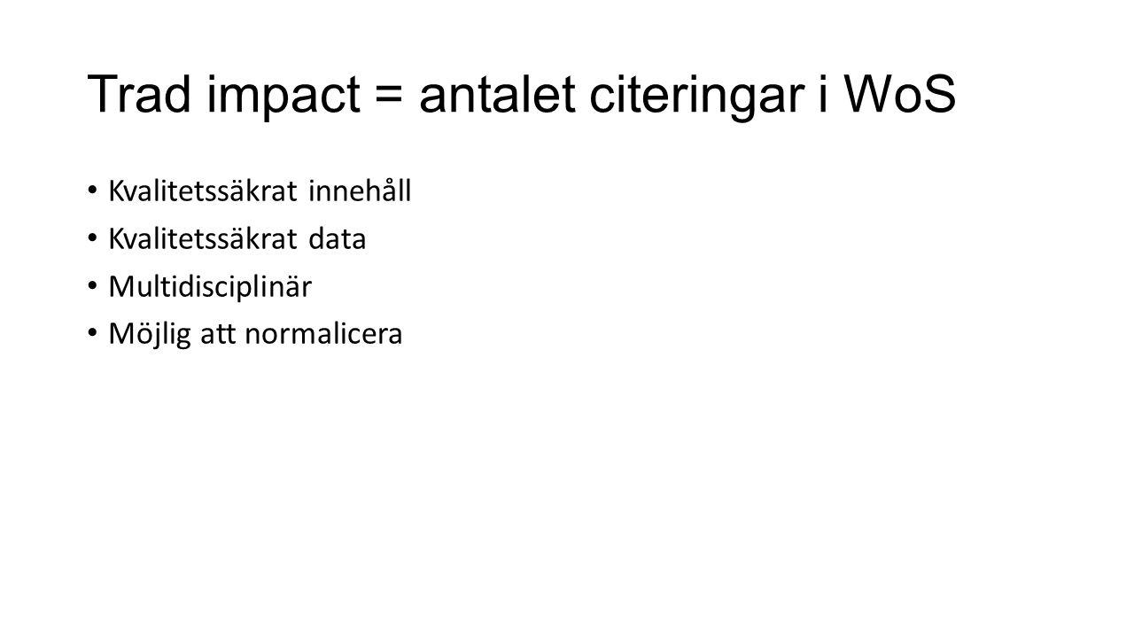 Trad impact = antalet citeringar i WoS Kvalitetssäkrat innehåll Kvalitetssäkrat data Multidisciplinär Möjlig att normalicera