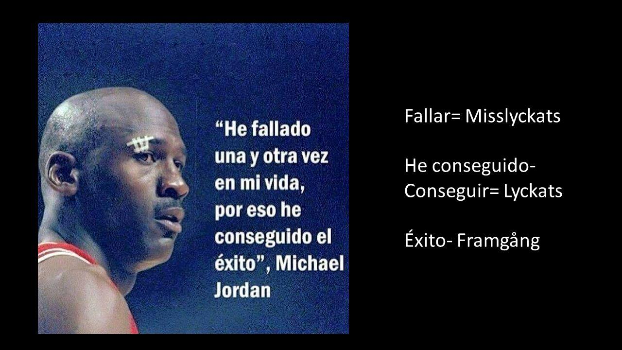 Fallar= Misslyckats He conseguido- Conseguir= Lyckats Éxito- Framgång