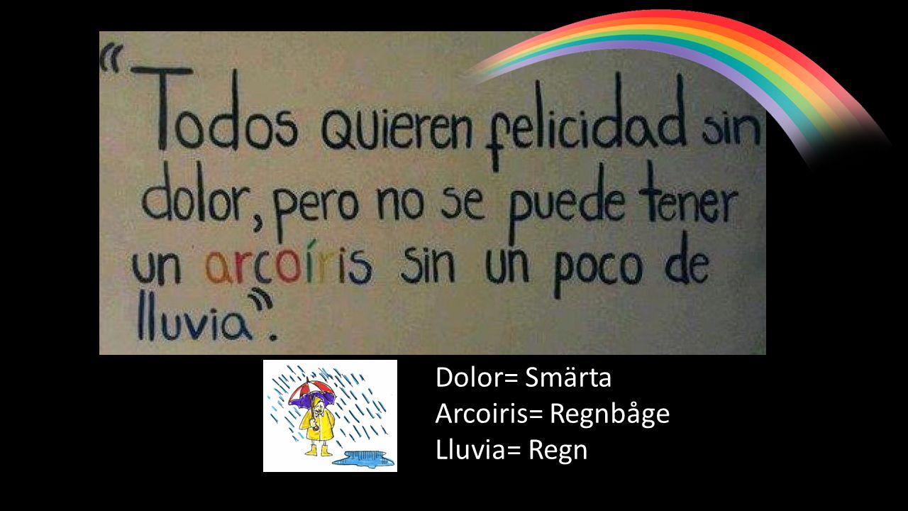 Dolor= Smärta Arcoiris= Regnbåge Lluvia= Regn