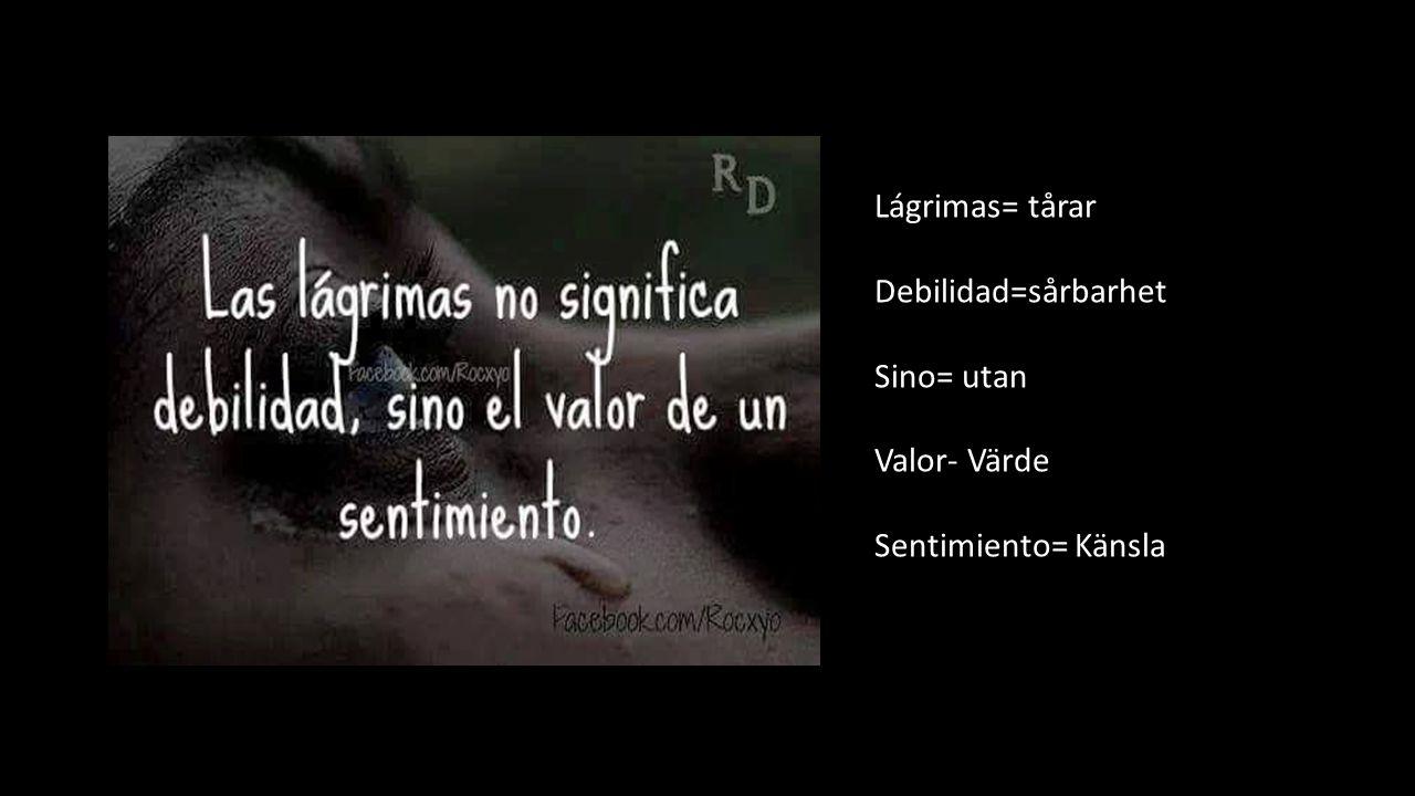 Lágrimas= tårar Debilidad=sårbarhet Sino= utan Valor- Värde Sentimiento= Känsla