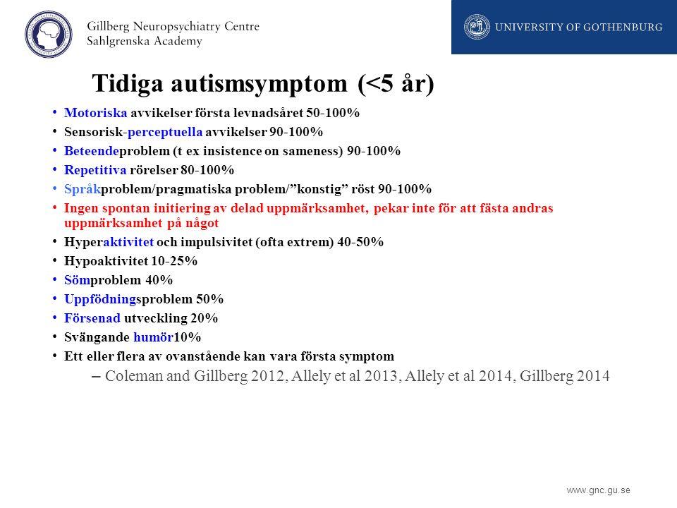 www.gnc.gu.se Tidiga autismsymptom (<5 år) Motoriska avvikelser första levnadsåret 50-100% Sensorisk-perceptuella avvikelser 90-100% Beteendeproblem (