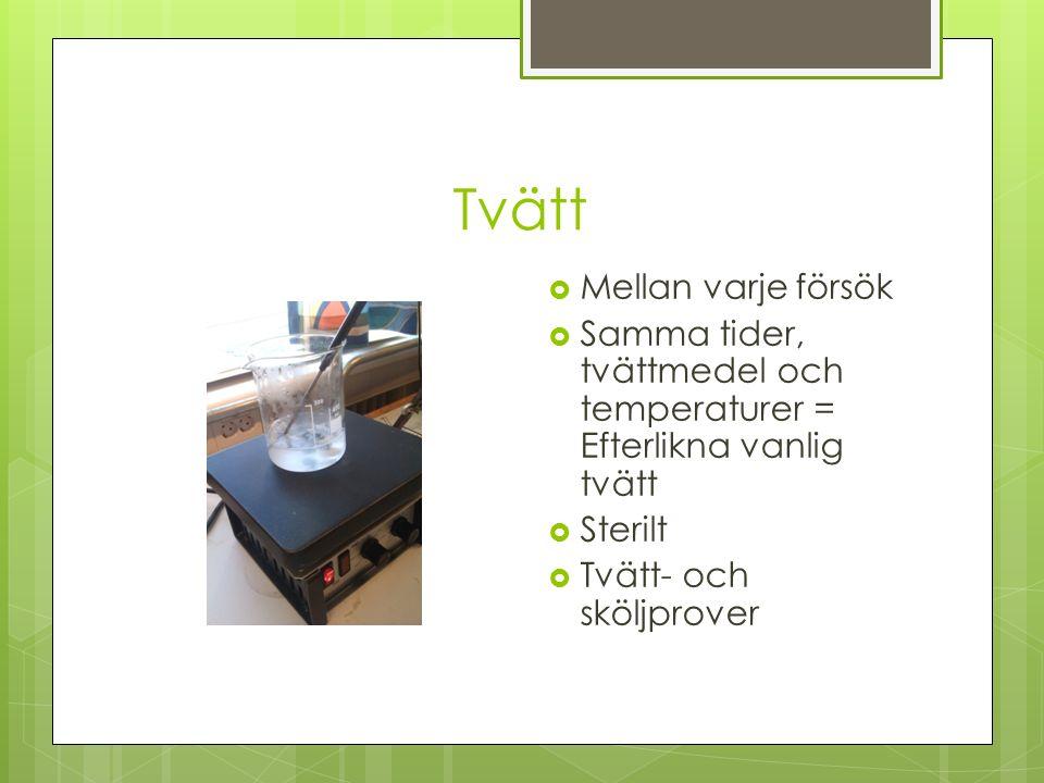 Tvätt  Mellan varje försök  Samma tider, tvättmedel och temperaturer = Efterlikna vanlig tvätt  Sterilt  Tvätt- och sköljprover