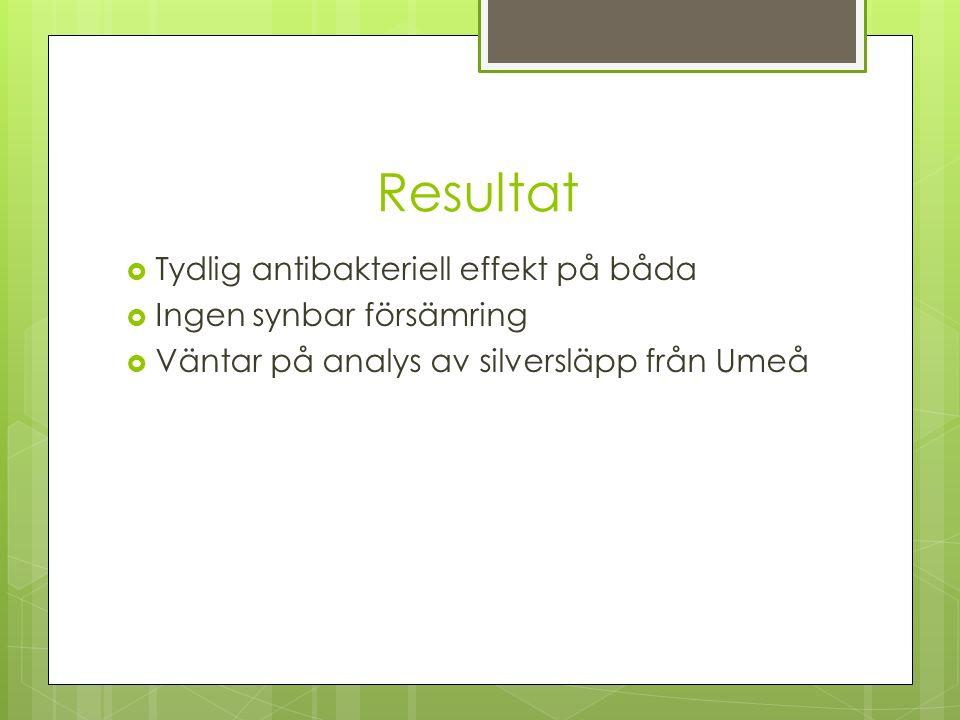 Resultat  Tydlig antibakteriell effekt på båda  Ingen synbar försämring  Väntar på analys av silversläpp från Umeå