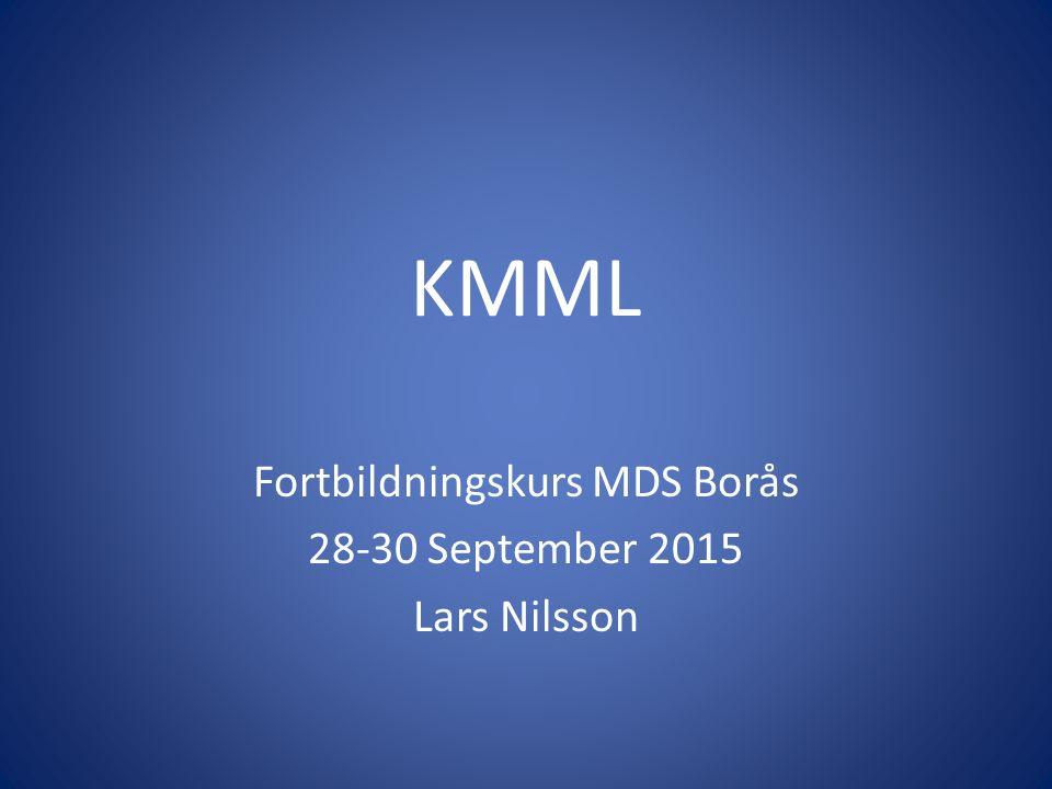 Prognos Sämre än för MDS – 43% 2-års överlevnad INCA Median överlevnad 12-30 månader KMML-1/KMML-2: 18/63% AML risk inom 5 år MD-KMML/MP-KMML: 30/16 mån median OS Avvikande cytogenetik värre Vissa mutationer värre (CBL, ASXL1, RUNX1) Finns ingen konsensus för vilken av de 8 publicerade KMML prognostiska score som är bäst IPSS resp R-IPSS inkluderade enbart 10-15% KMML-MD CPSS (CMML Prognostic Score System) [Such, Blood 2013] möjligen bäst enligt en nylig genomförd jämförelse [Calvo X, Leuk Res, 2015]