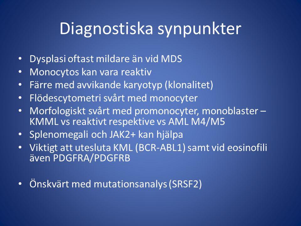 Diagnostiska synpunkter Dysplasi oftast mildare än vid MDS Monocytos kan vara reaktiv Färre med avvikande karyotyp (klonalitet) Flödescytometri svårt med monocyter Morfologiskt svårt med promonocyter, monoblaster – KMML vs reaktivt respektive vs AML M4/M5 Splenomegali och JAK2+ kan hjälpa Viktigt att utesluta KML (BCR-ABL1) samt vid eosinofili även PDGFRA/PDGFRB Önskvärt med mutationsanalys (SRSF2)