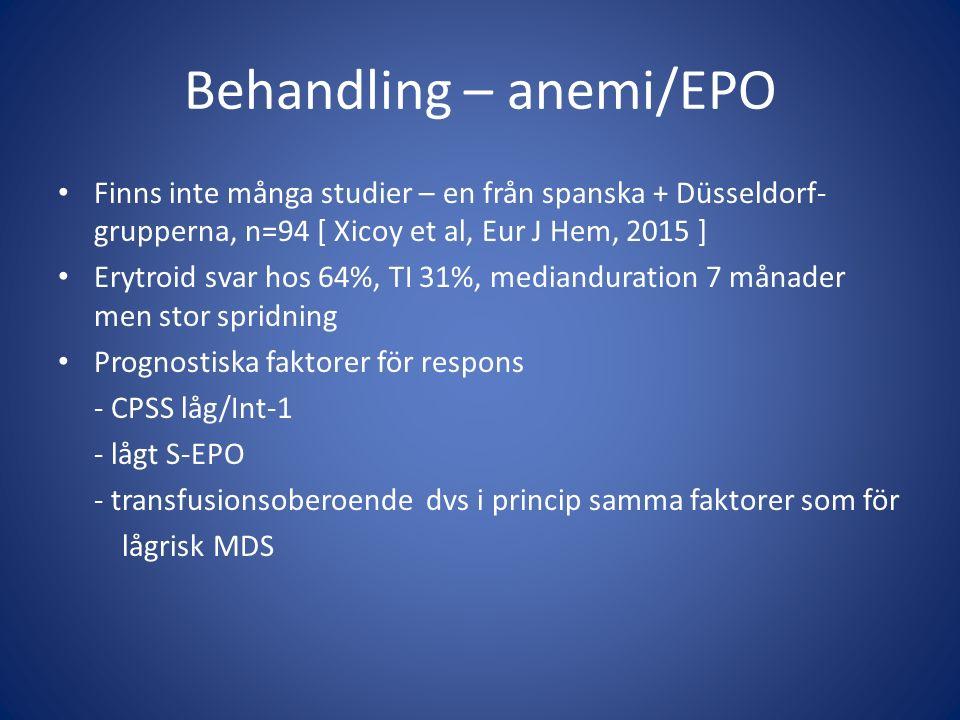 Behandling – anemi/EPO Finns inte många studier – en från spanska + Düsseldorf- grupperna, n=94 [ Xicoy et al, Eur J Hem, 2015 ] Erytroid svar hos 64%, TI 31%, medianduration 7 månader men stor spridning Prognostiska faktorer för respons - CPSS låg/Int-1 - lågt S-EPO - transfusionsoberoende dvs i princip samma faktorer som för lågrisk MDS