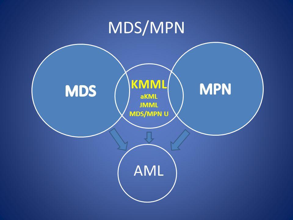 MDS/MPN KMML Atypisk KML, BCR-ABL1 negativ, PDGFRA/PDGFRB negative Vita ≥ 13 med dysplastisk och vänsterförskjuten diff utan basofili eller monocytos samt blaster <20% Hypercellulär och dysplastisk benmärg med blaster <20% JMML, barnsjukdom, 10% hos neurofibromatos 1 monocytos >1 x10(9), BCR-ABL1 negative HbF ökat, omogen diff, vita >10, klonal avvikelse GM-CSF hypersensitivitet in vitro MDS/MPN, oklassifierbar.
