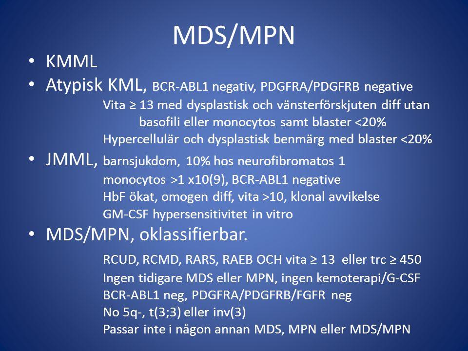 Behandling Allo-SCT enda kurativa behandlingen ≈ 30% 3-års OS ≈ 30% mortalitet ≈ 30% recidiv Myelosuppressiv behandling vid symtomgivande leukocytos/allmänsymtom - hydroxyurea bättre än etoposid (Wattel et al 1996) - cytarabin, AML-lik induktionsbeh.