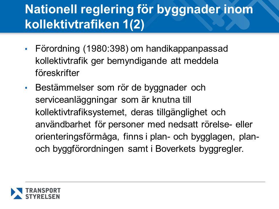 Nationell reglering för byggnader inom kollektivtrafiken 1(2) Förordning (1980:398) om handikappanpassad kollektivtrafik ger bemyndigande att meddela föreskrifter Bestämmelser som rör de byggnader och serviceanläggningar som är knutna till kollektivtrafiksystemet, deras tillgänglighet och användbarhet för personer med nedsatt rörelse- eller orienteringsförmåga, finns i plan- och bygglagen, plan- och byggförordningen samt i Boverkets byggregler.