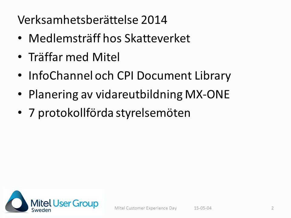 Verksamhetsberättelse 2014 Medlemsträff hos Skatteverket Träffar med Mitel InfoChannel och CPI Document Library Planering av vidareutbildning MX-ONE 7 protokollförda styrelsemöten 15-05-042Mitel Customer Experience Day