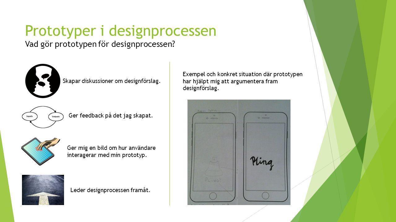 Prototyper i designprocessen Vad gör prototypen för designprocessen.