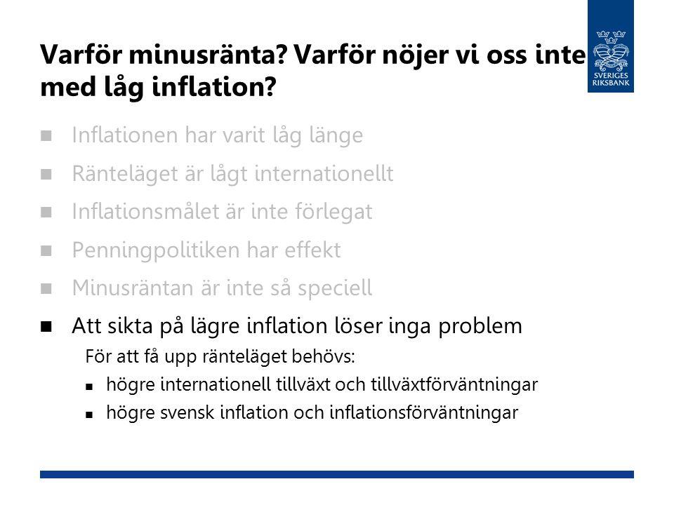 Varför minusränta. Varför nöjer vi oss inte med låg inflation.