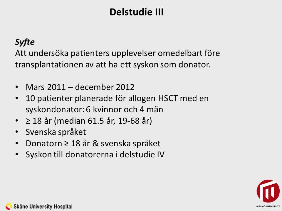 Syfte Att undersöka patienters upplevelser omedelbart före transplantationen av att ha ett syskon som donator.