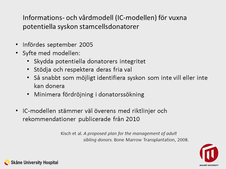 Informations- och vårdmodell (IC-modellen) för vuxna potentiella syskon stamcellsdonatorer Infördes september 2005 Syfte med modellen: Skydda potentiella donatorers integritet Stödja och respektera deras fria val Så snabbt som möjligt identifiera syskon som inte vill eller inte kan donera Minimera fördröjning i donatorssökning IC-modellen stämmer väl överens med riktlinjer och rekommendationer publicerade från 2010 Kisch et al.