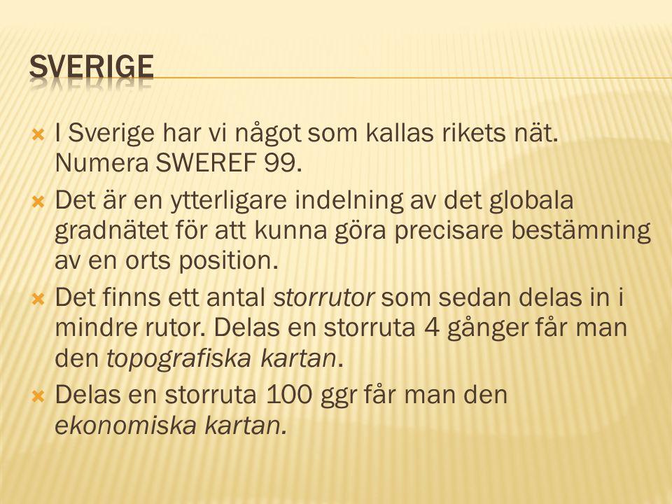  I Sverige har vi något som kallas rikets nät. Numera SWEREF 99.  Det är en ytterligare indelning av det globala gradnätet för att kunna göra precis