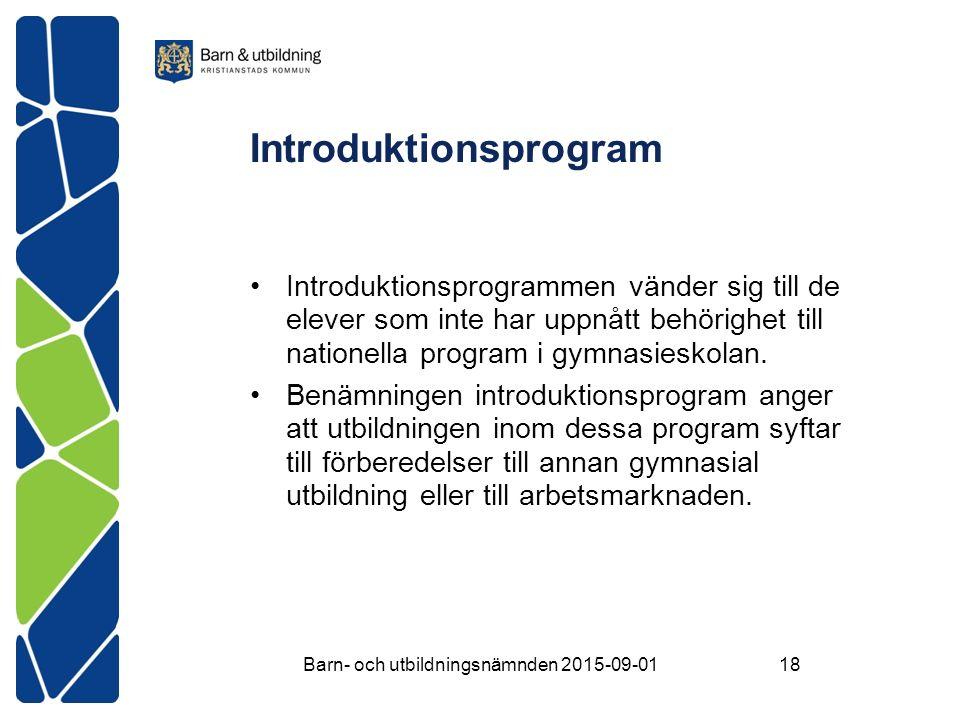 Introduktionsprogram Introduktionsprogrammen vänder sig till de elever som inte har uppnått behörighet till nationella program i gymnasieskolan.
