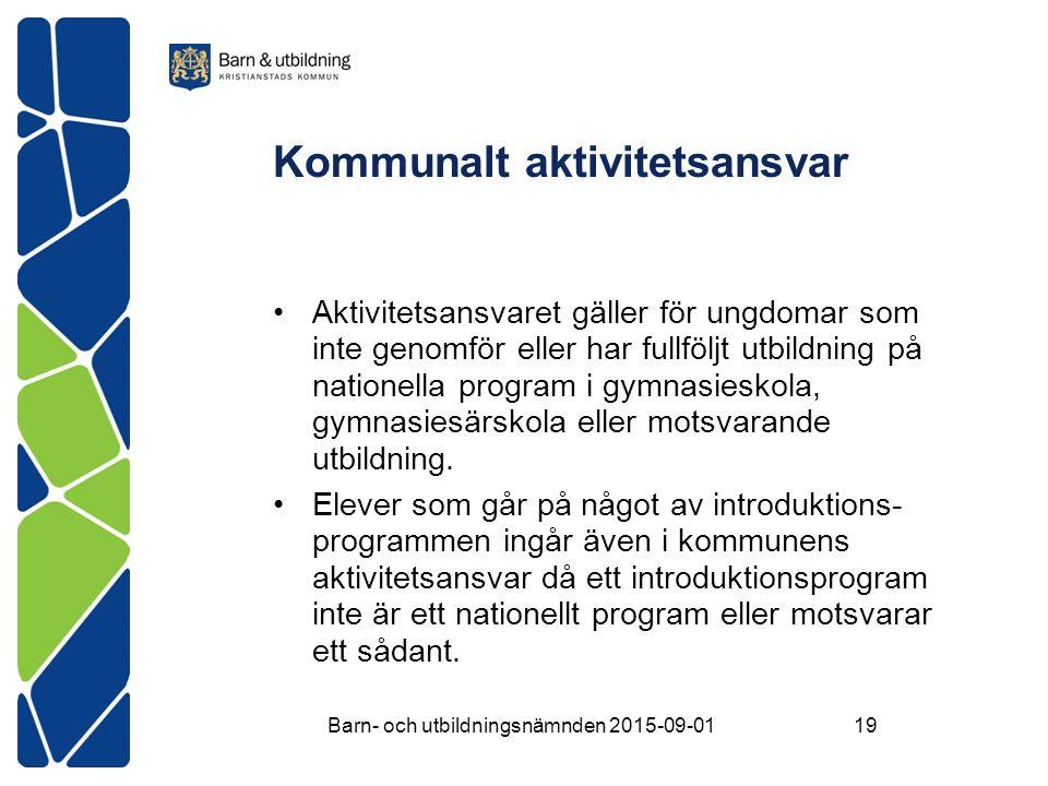 Kommunalt aktivitetsansvar Aktivitetsansvaret gäller för ungdomar som inte genomför eller har fullföljt utbildning på nationella program i gymnasieskola, gymnasiesärskola eller motsvarande utbildning.
