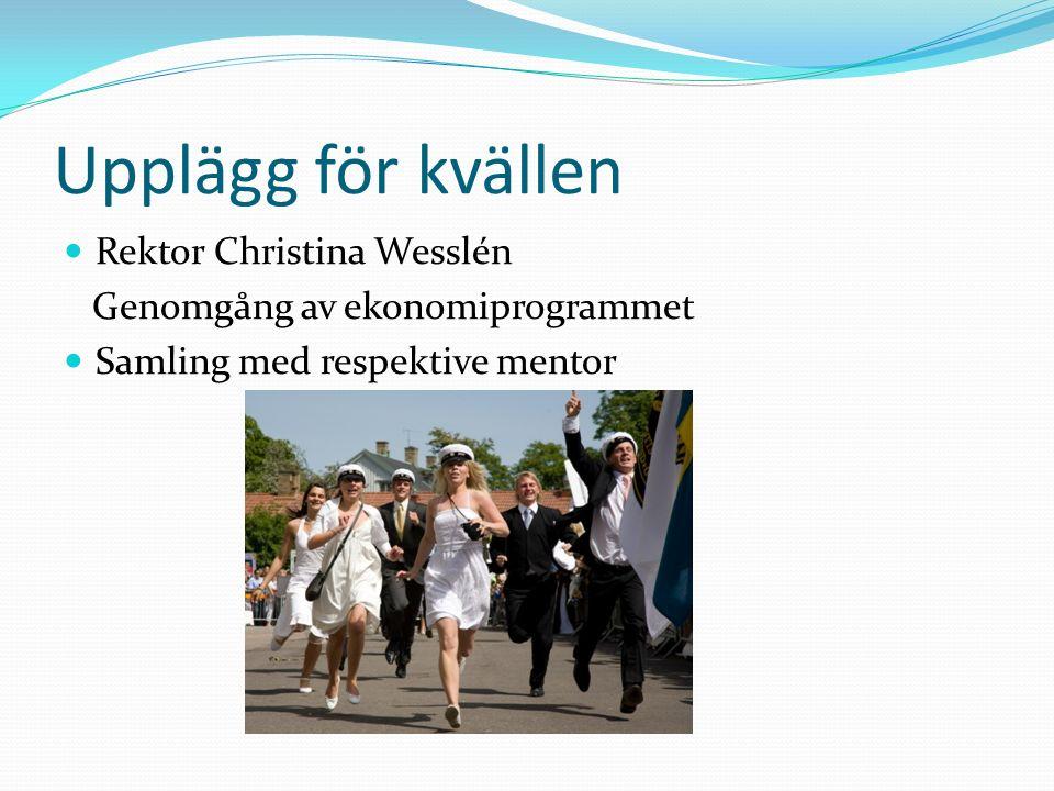Upplägg för kvällen Rektor Christina Wesslén Genomgång av ekonomiprogrammet Samling med respektive mentor