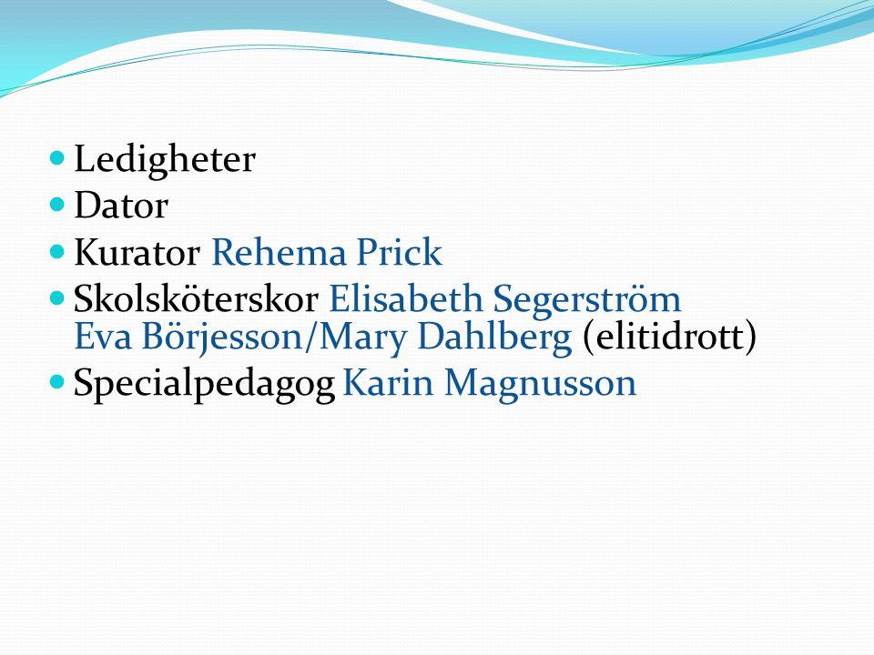 Ledigheter Dator Kurator Rehema Prick Skolsköterskor Elisabeth Segerström Eva Börjesson/Mary Dahlberg (elitidrott) Specialpedagog Karin Magnusson