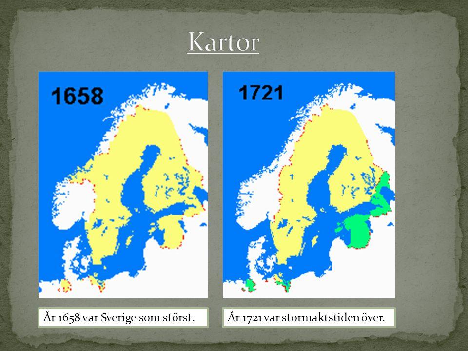 År 1658 var Sverige som störst.År 1721 var stormaktstiden över.