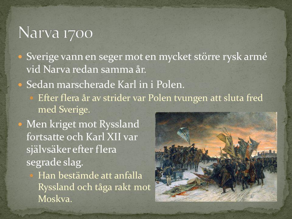 Sverige vann en seger mot en mycket större rysk armé vid Narva redan samma år.