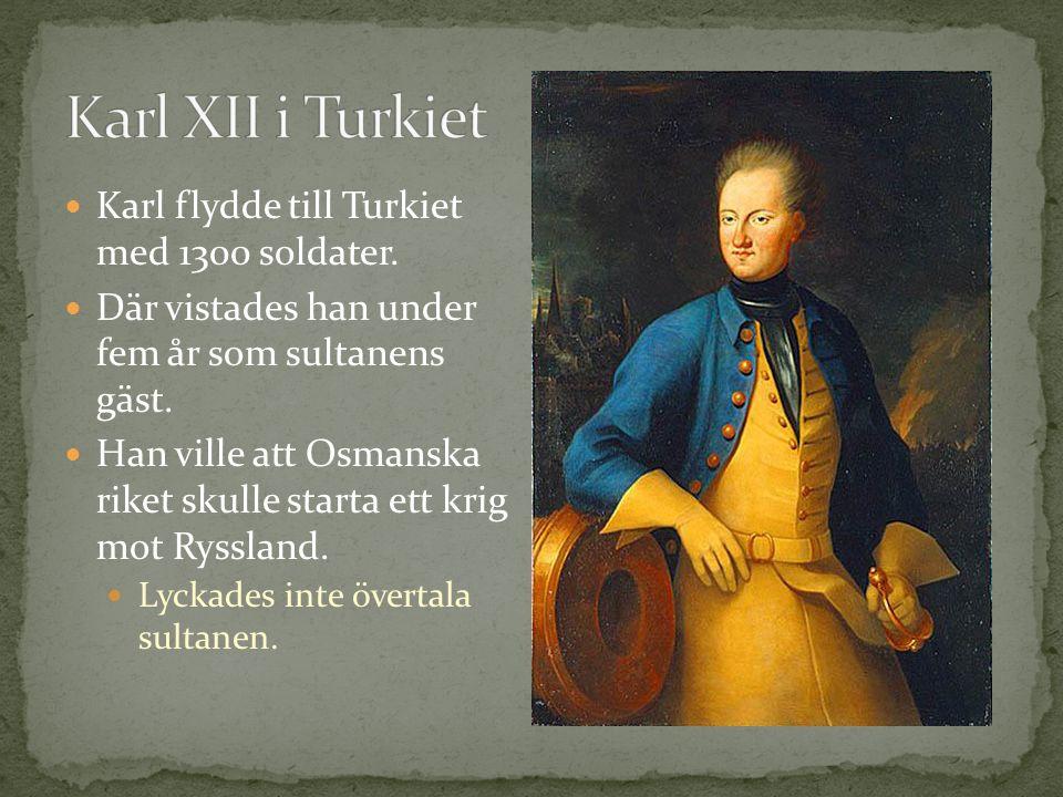 Karl flydde till Turkiet med 1300 soldater.Där vistades han under fem år som sultanens gäst.