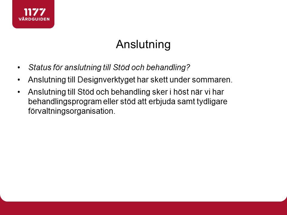 Status för anslutning till Stöd och behandling.
