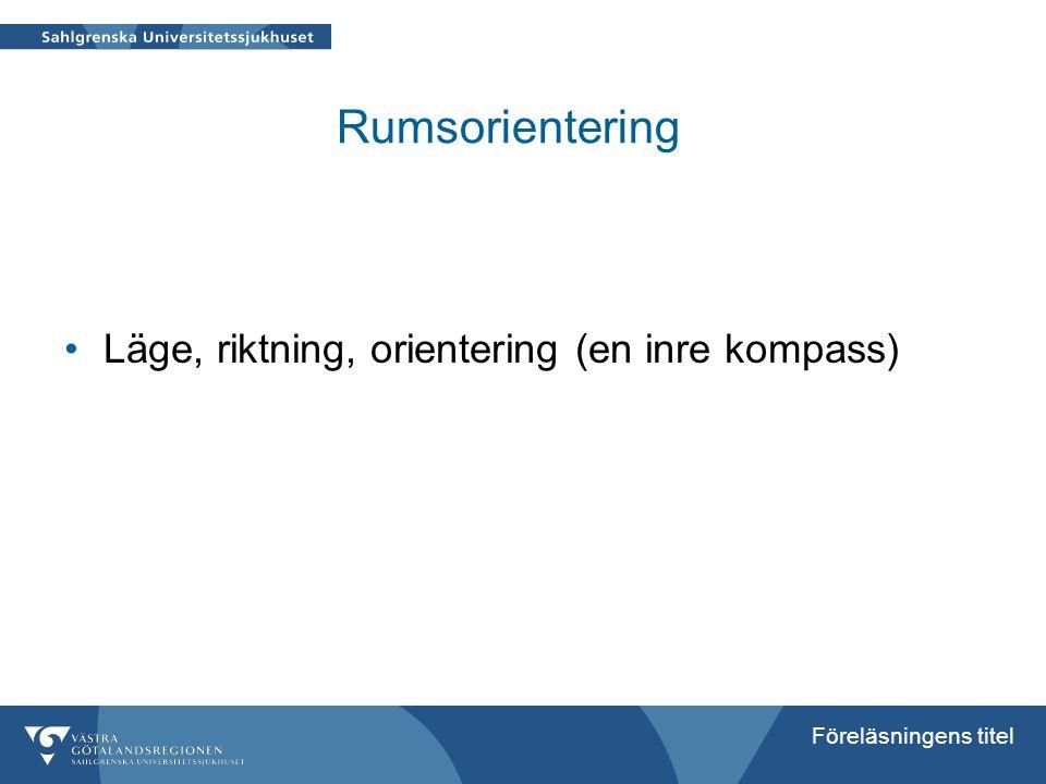 Föreläsningens titel Rumsorientering Läge, riktning, orientering (en inre kompass)