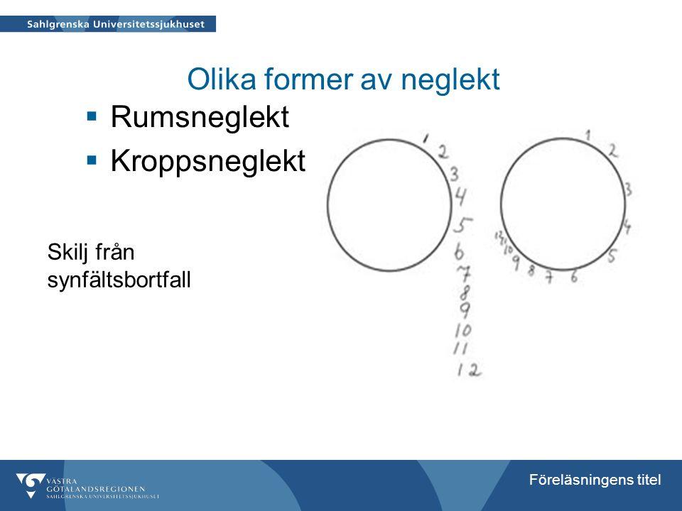 Föreläsningens titel Olika former av neglekt  Rumsneglekt  Kroppsneglekt Skilj från synfältsbortfall