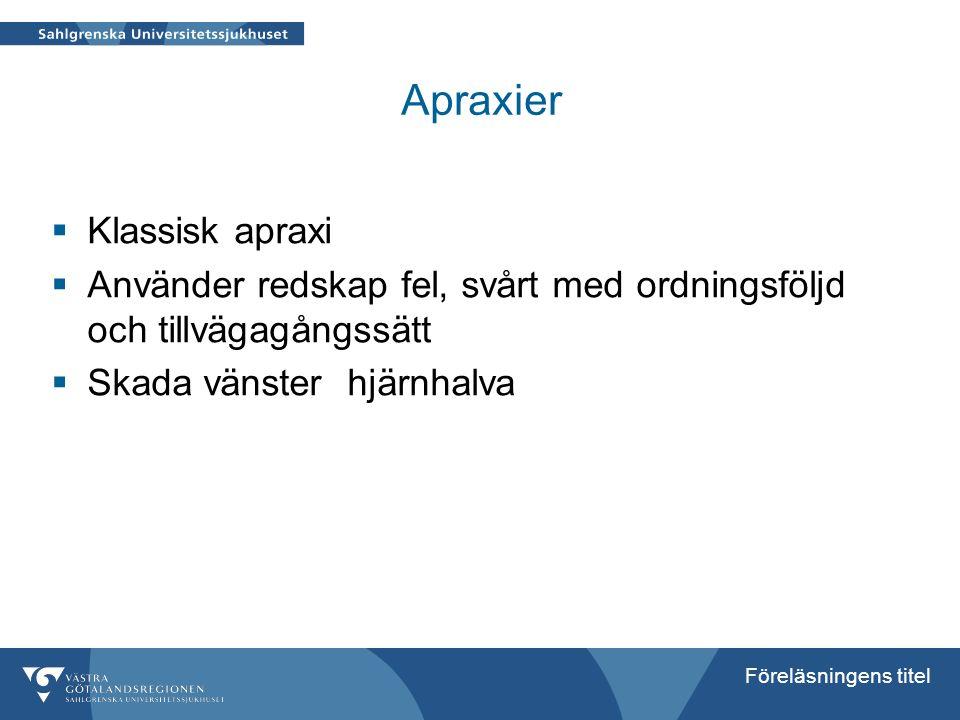 Föreläsningens titel Apraxier  Klassisk apraxi  Använder redskap fel, svårt med ordningsföljd och tillvägagångssätt  Skada vänster hjärnhalva